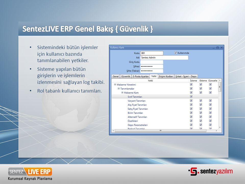 SentezLIVE ERP Genel Bakış { Güvenlik }