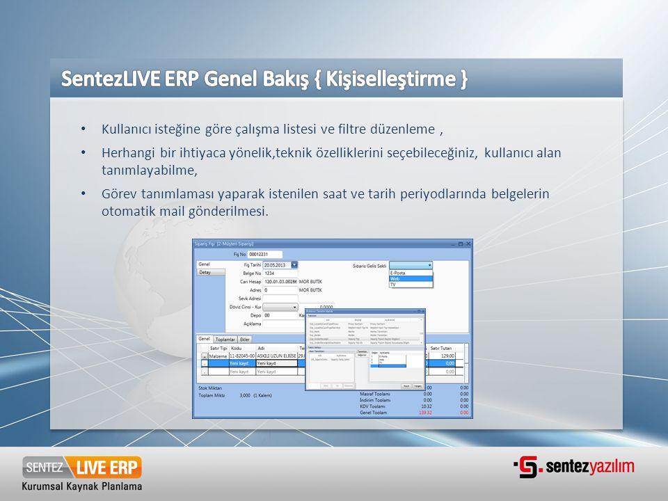 SentezLIVE ERP Genel Bakış { Kişiselleştirme }