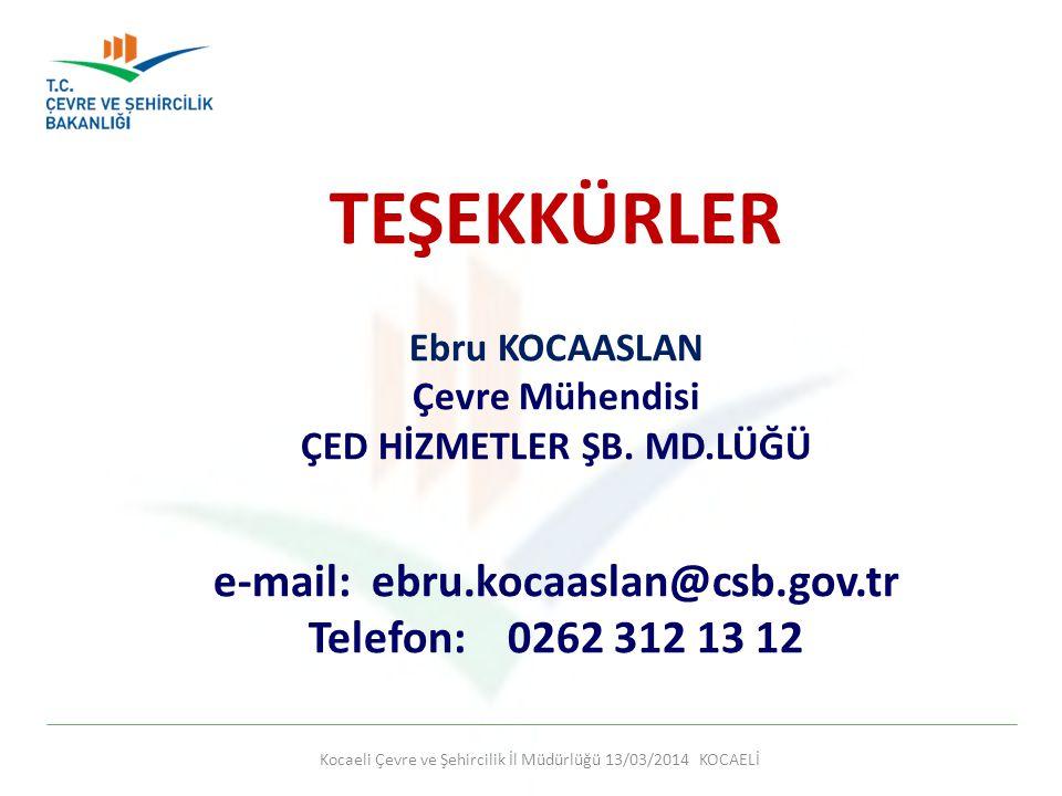 TEŞEKKÜRLER e-mail: ebru.kocaaslan@csb.gov.tr Telefon: 0262 312 13 12