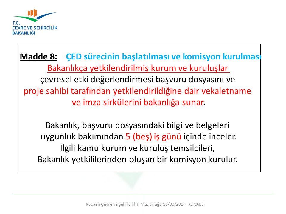 Madde 8: ÇED sürecinin başlatılması ve komisyon kurulması