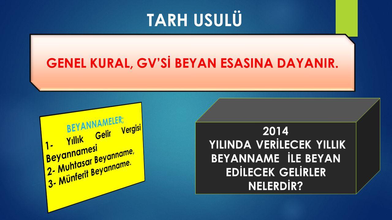 GENEL KURAL, GV'Sİ BEYAN ESASINA DAYANIR.