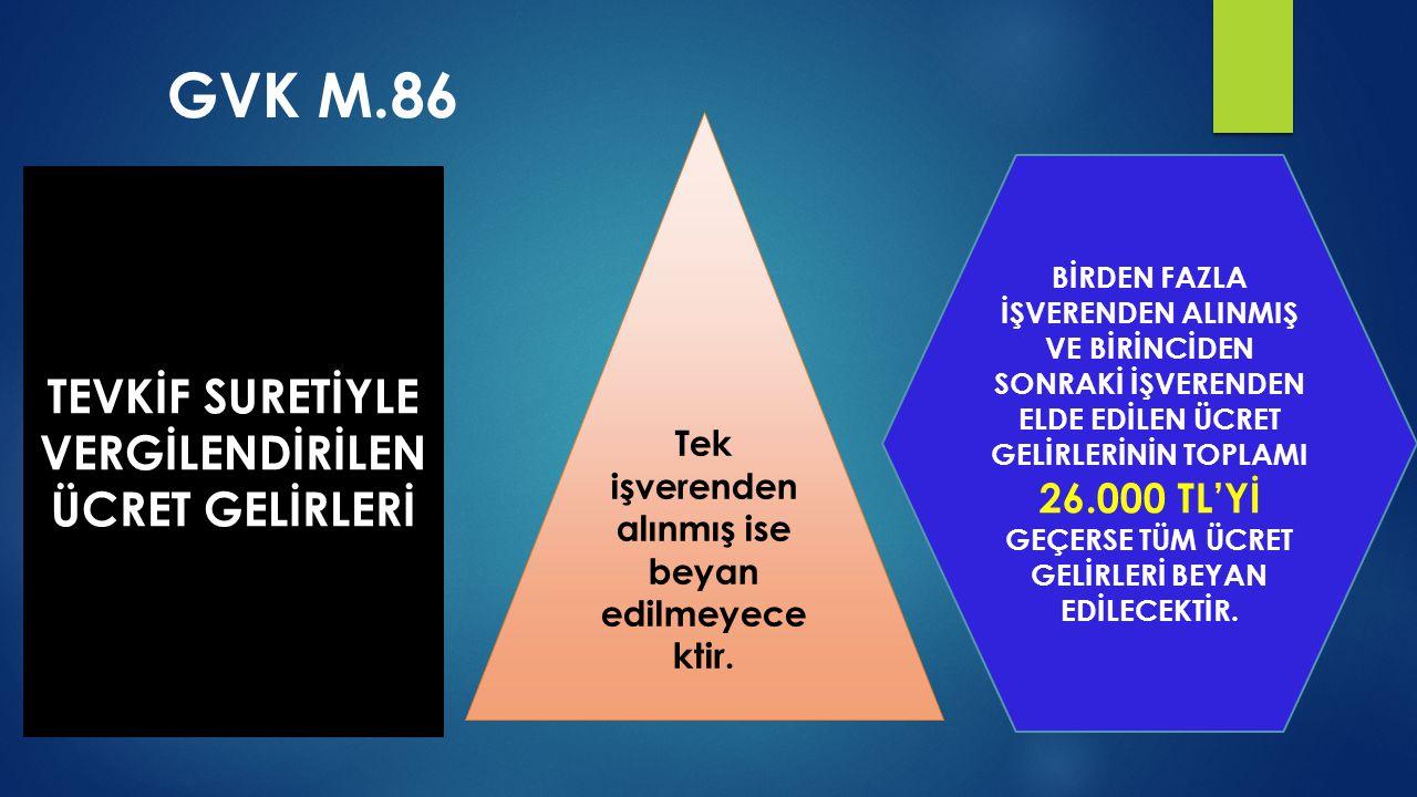 GVK M.86 TEVKİF SURETİYLE VERGİLENDİRİLEN ÜCRET GELİRLERİ