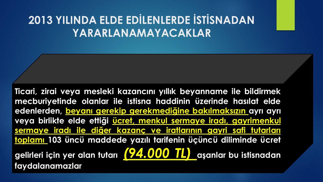 2013 YILINDA ELDE EDİLENLERDE İSTİSNADAN YARARLANAMAYACAKLAR