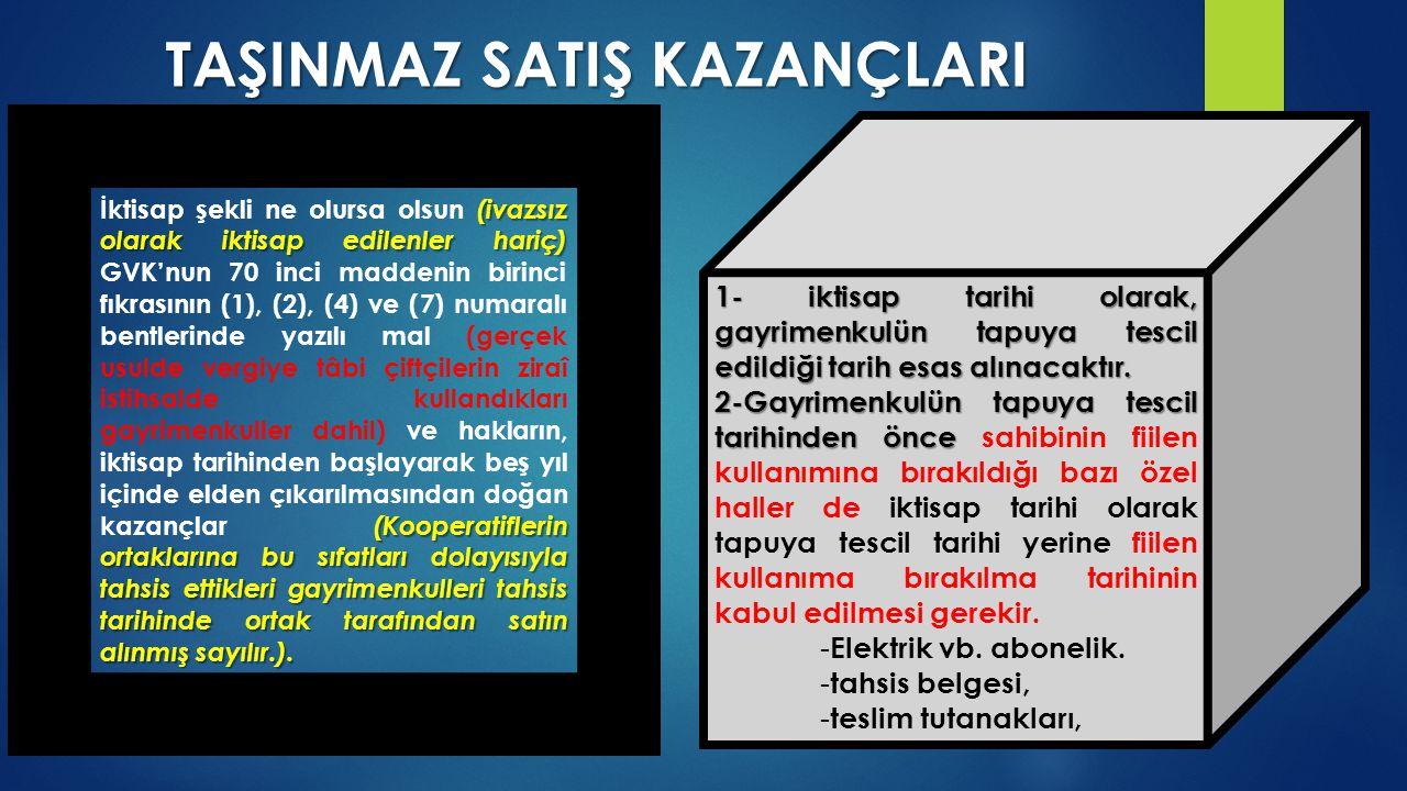 TAŞINMAZ SATIŞ KAZANÇLARI