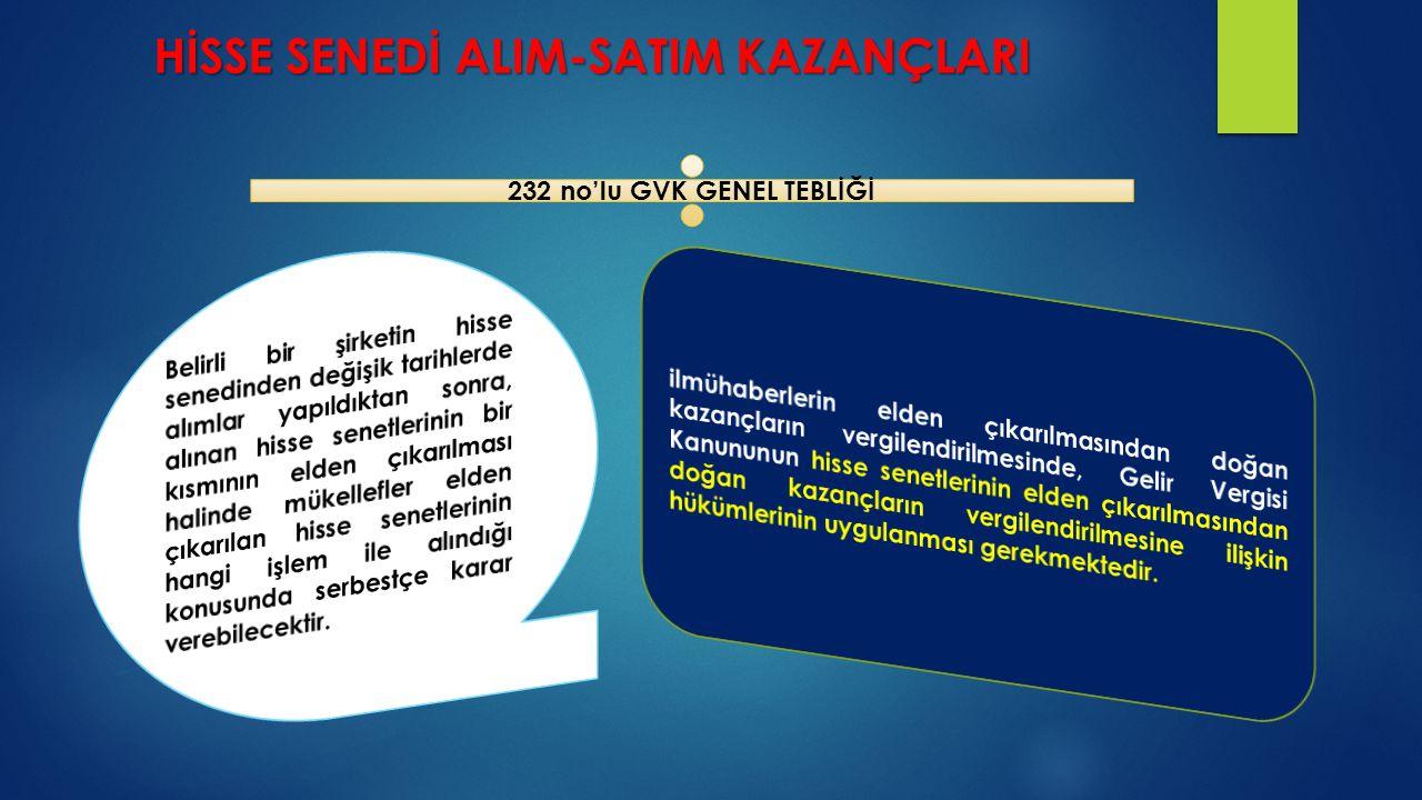 HİSSE SENEDİ ALIM-SATIM KAZANÇLARI