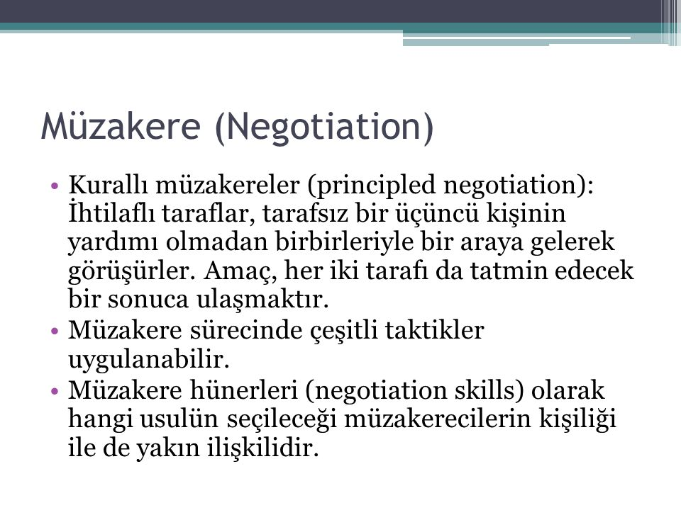 Müzakere (Negotiation)