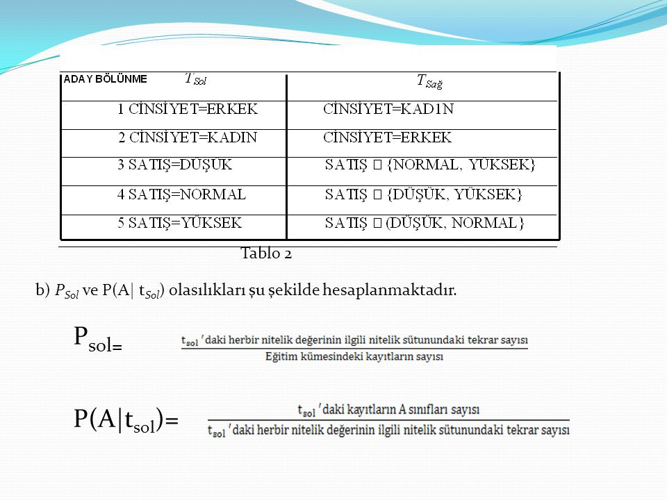 Tablo 2 b) PSol ve P(A| tSol) olasılıkları şu şekilde hesaplanmaktadır. Psol= P(A|tsol)=