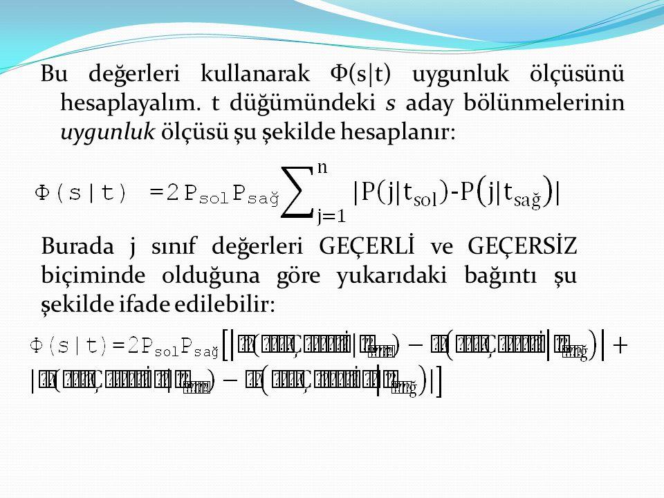 Bu değerleri kullanarak Ф(s|t) uygunluk ölçüsünü hesaplayalım