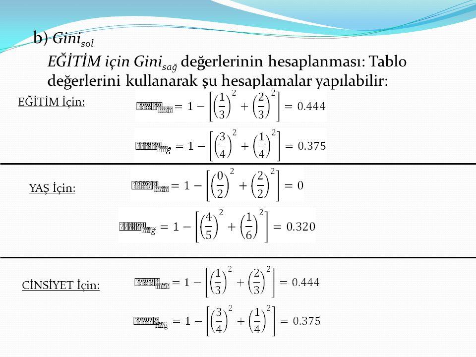 b) Ginisol EĞİTİM için Ginisağ değerlerinin hesaplanması: Tablo değerlerini kullanarak şu hesaplamalar yapılabilir: