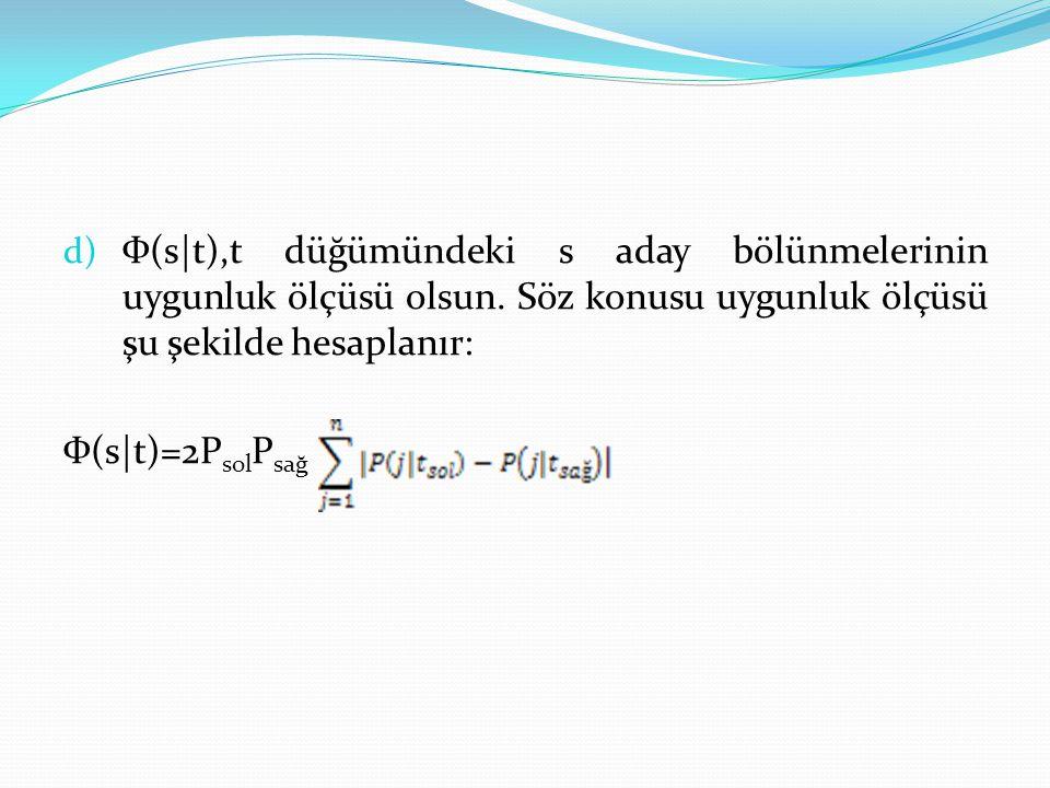 Ф(s|t),t düğümündeki s aday bölünmelerinin uygunluk ölçüsü olsun