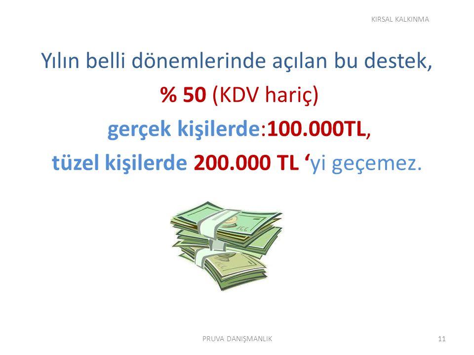 KIRSAL KALKINMA Yılın belli dönemlerinde açılan bu destek, % 50 (KDV hariç) gerçek kişilerde:100.000TL, tüzel kişilerde 200.000 TL 'yi geçemez.