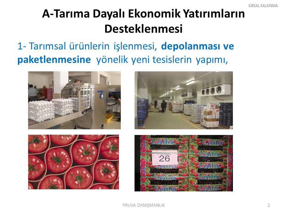 A-Tarıma Dayalı Ekonomik Yatırımların Desteklenmesi