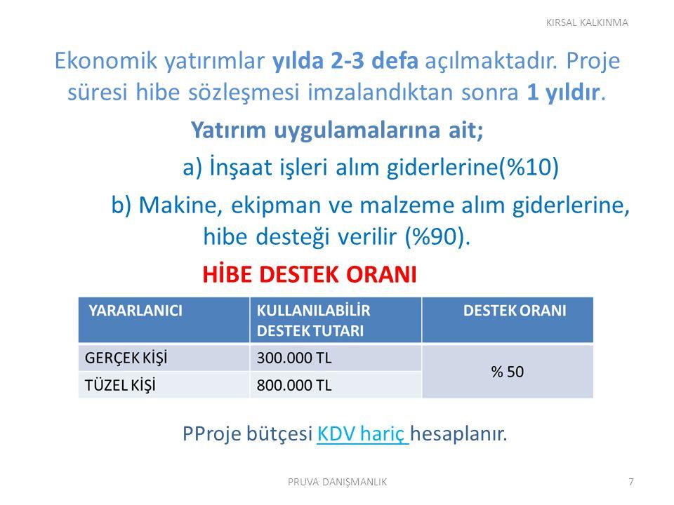 PProje bütçesi KDV hariç hesaplanır.