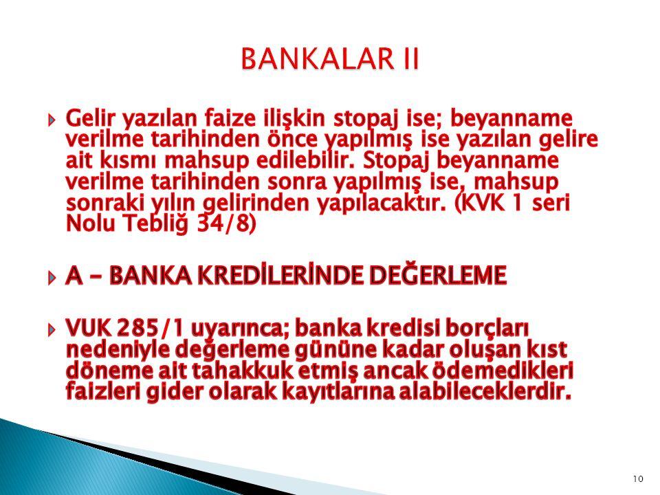 BANKALAR II A – BANKA KREDİLERİNDE DEĞERLEME