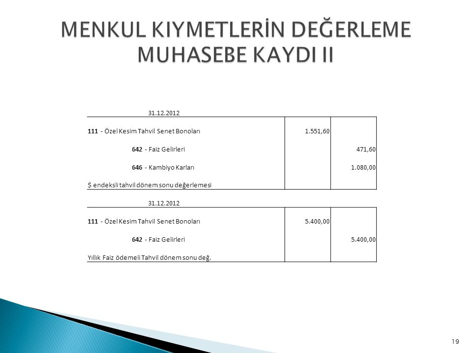 MENKUL KIYMETLERİN DEĞERLEME MUHASEBE KAYDI II