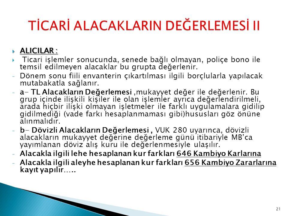 TİCARİ ALACAKLARIN DEĞERLEMESİ II