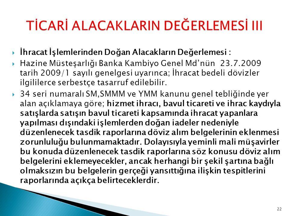 TİCARİ ALACAKLARIN DEĞERLEMESİ III