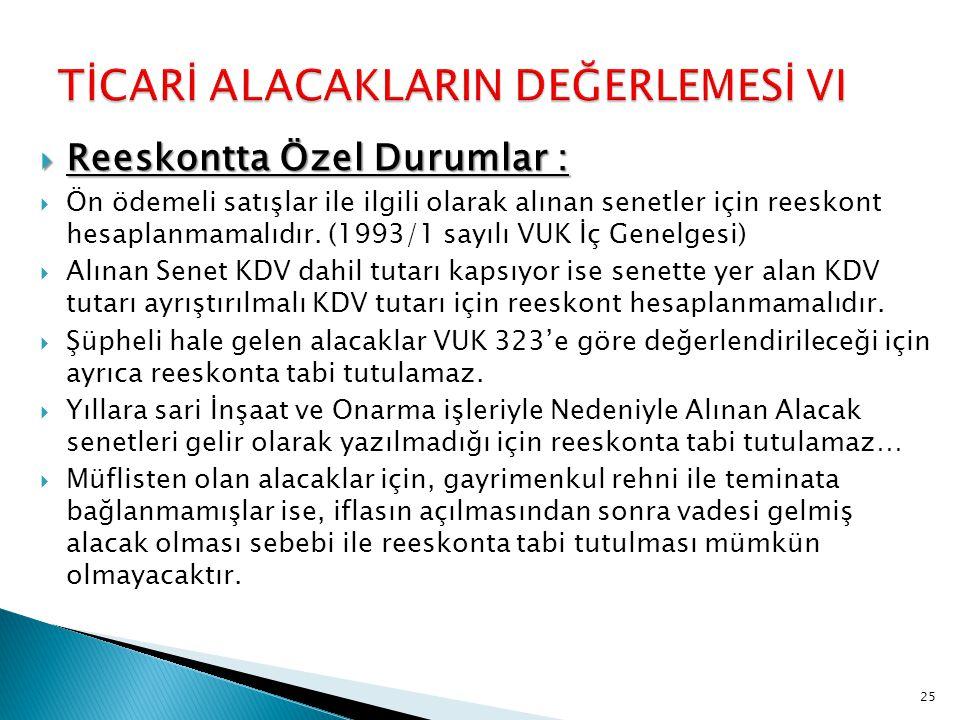TİCARİ ALACAKLARIN DEĞERLEMESİ VI