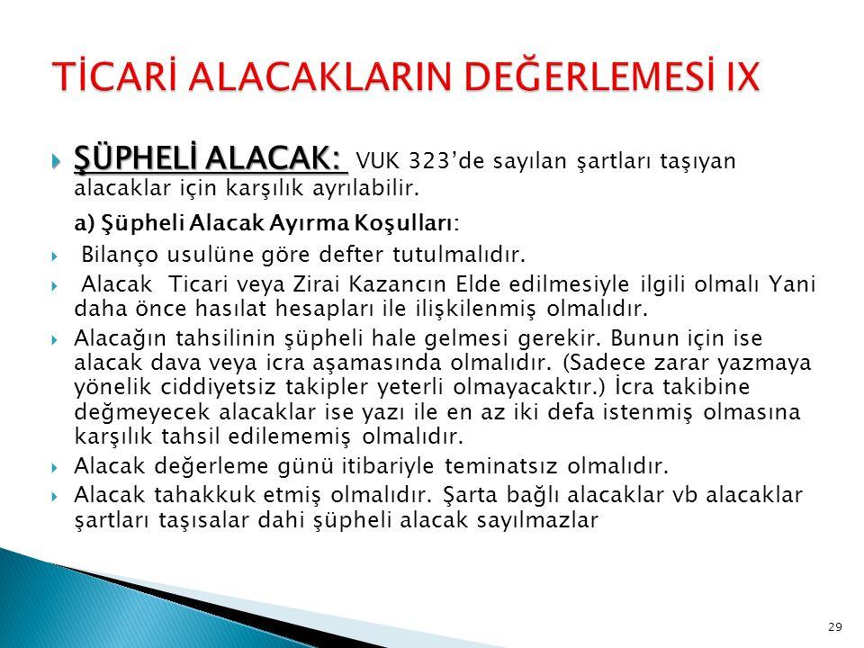 TİCARİ ALACAKLARIN DEĞERLEMESİ IX