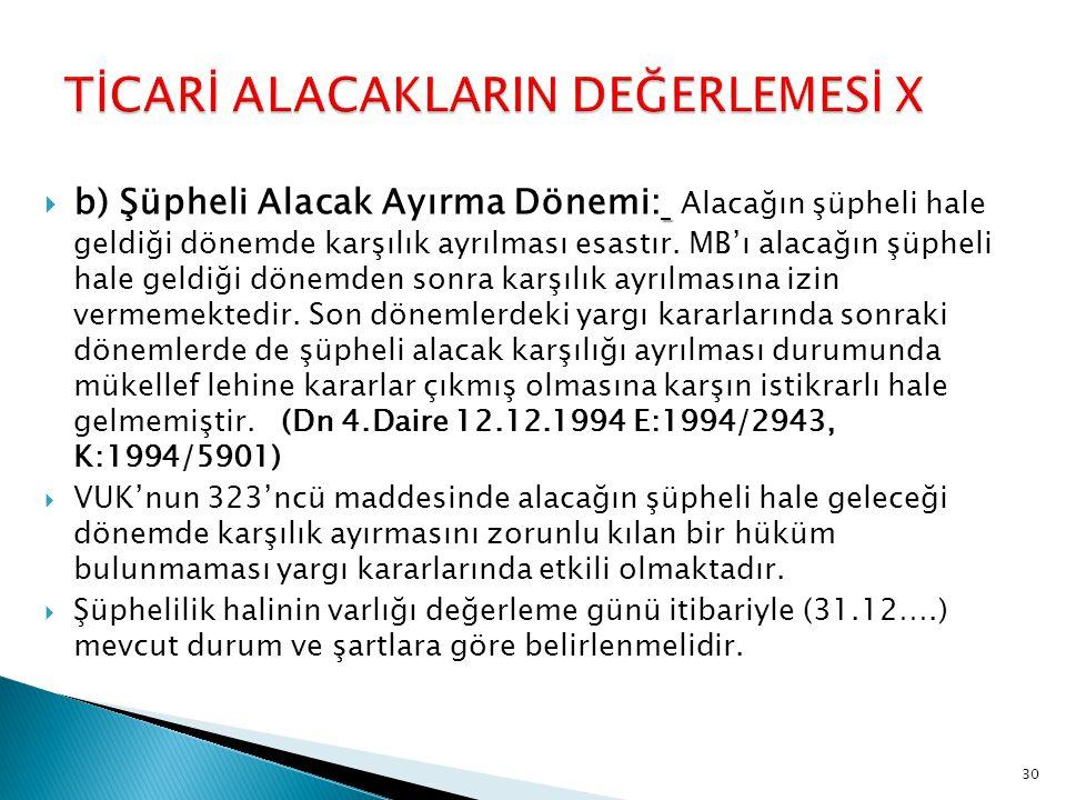 TİCARİ ALACAKLARIN DEĞERLEMESİ X