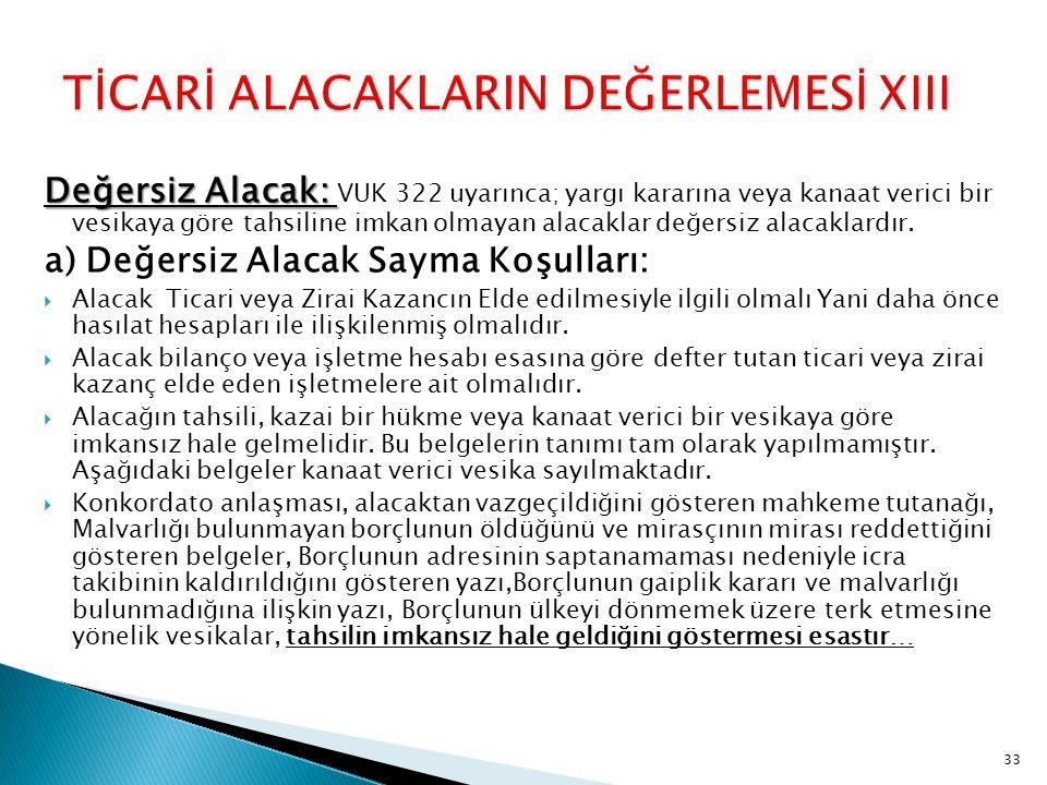 TİCARİ ALACAKLARIN DEĞERLEMESİ XIII