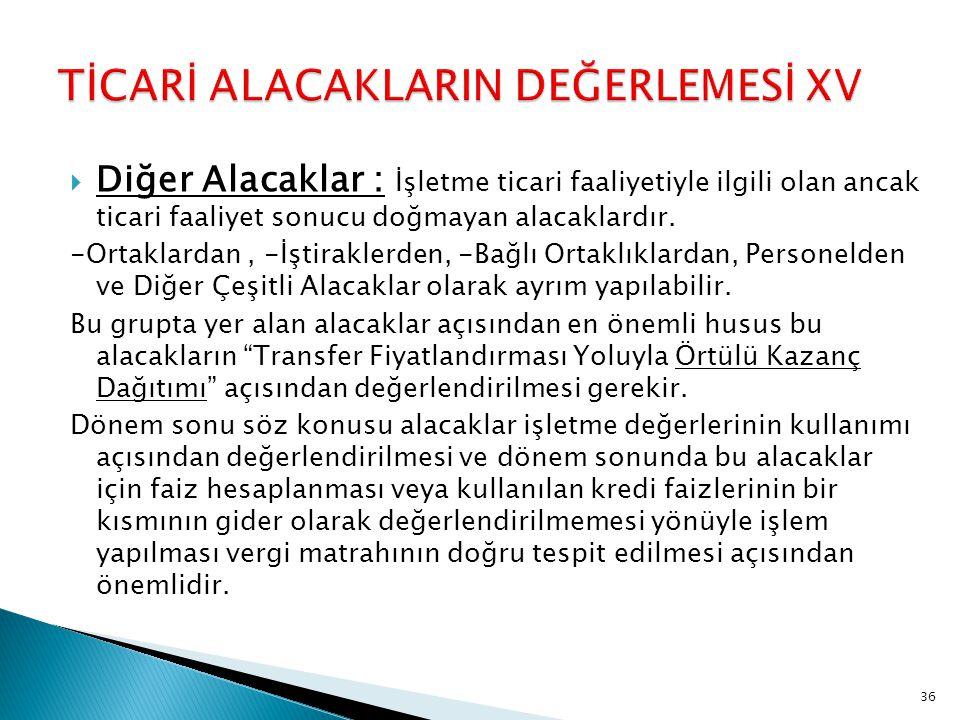 TİCARİ ALACAKLARIN DEĞERLEMESİ XV