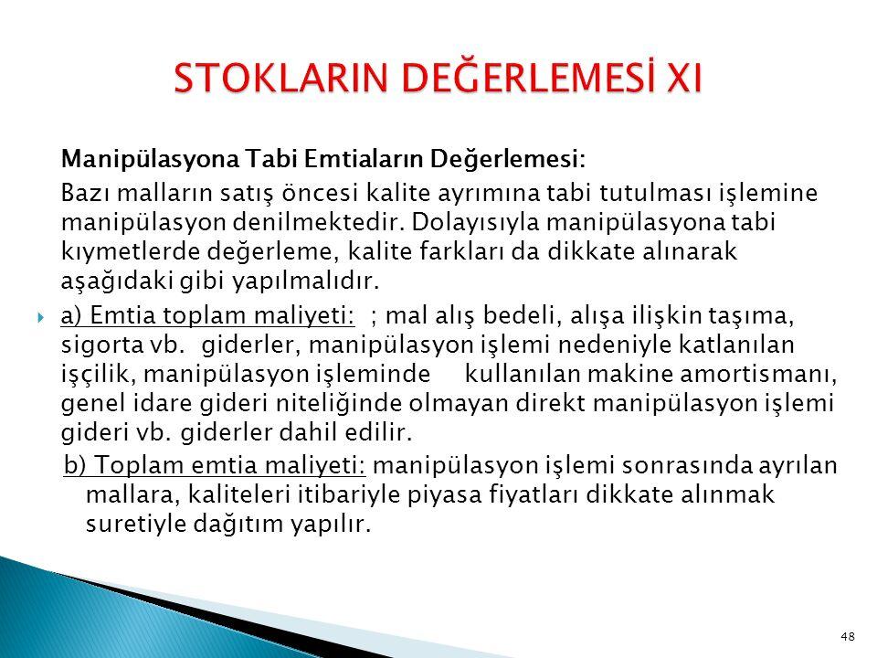 STOKLARIN DEĞERLEMESİ XI