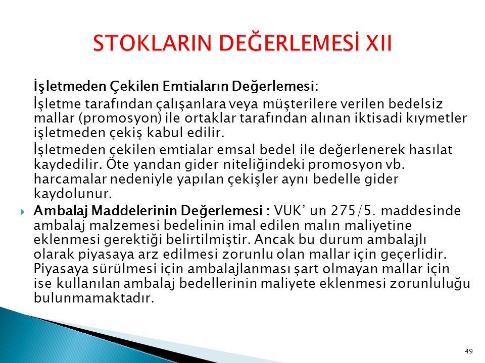 STOKLARIN DEĞERLEMESİ XII