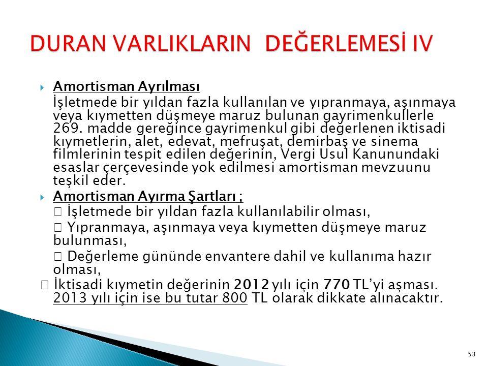 DURAN VARLIKLARIN DEĞERLEMESİ IV