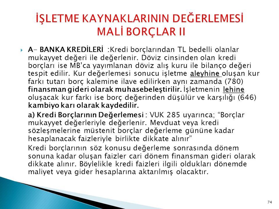 İŞLETME KAYNAKLARININ DEĞERLEMESİ MALİ BORÇLAR II