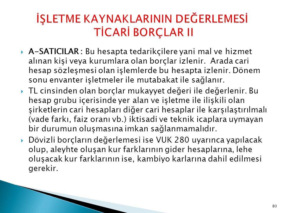 İŞLETME KAYNAKLARININ DEĞERLEMESİ TİCARİ BORÇLAR II