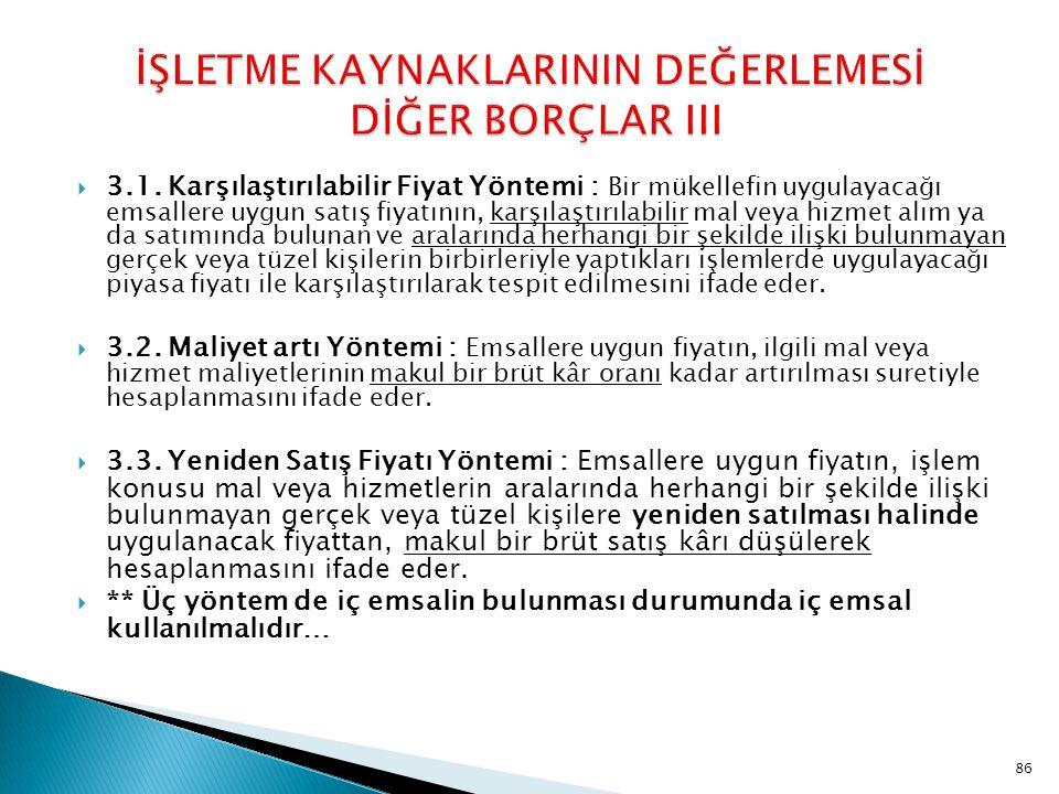 İŞLETME KAYNAKLARININ DEĞERLEMESİ DİĞER BORÇLAR III