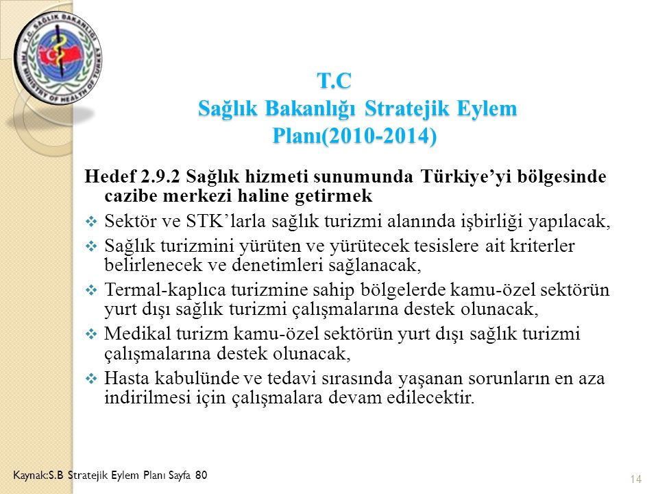 T.C Sağlık Bakanlığı Stratejik Eylem Planı(2010-2014)