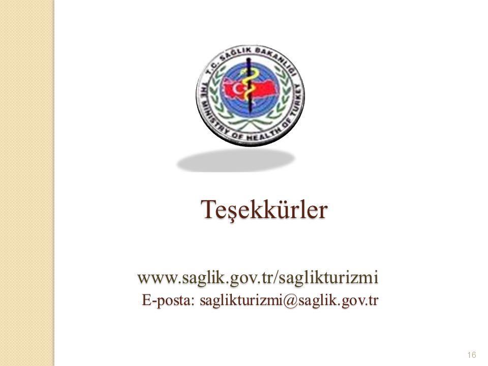 . Teşekkürler www.saglik.gov.tr/saglikturizmi E-posta: saglikturizmi@saglik.gov.tr 16