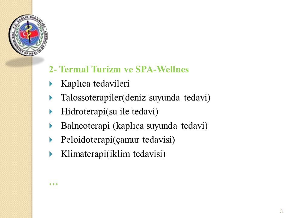 2- Termal Turizm ve SPA-Wellnes Kaplıca tedavileri