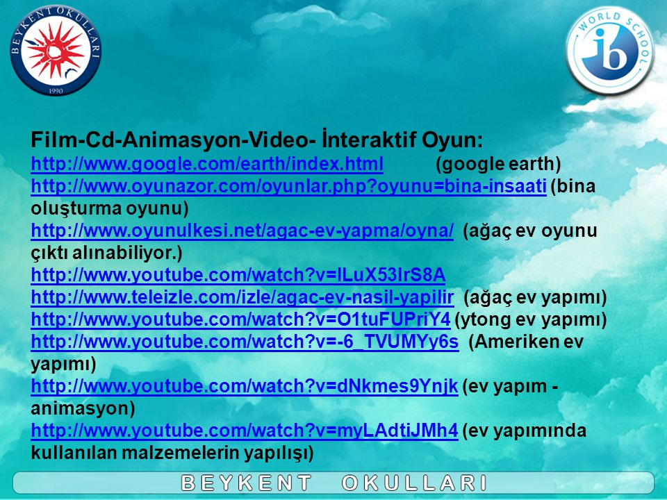 Film-Cd-Animasyon-Video- İnteraktif Oyun: