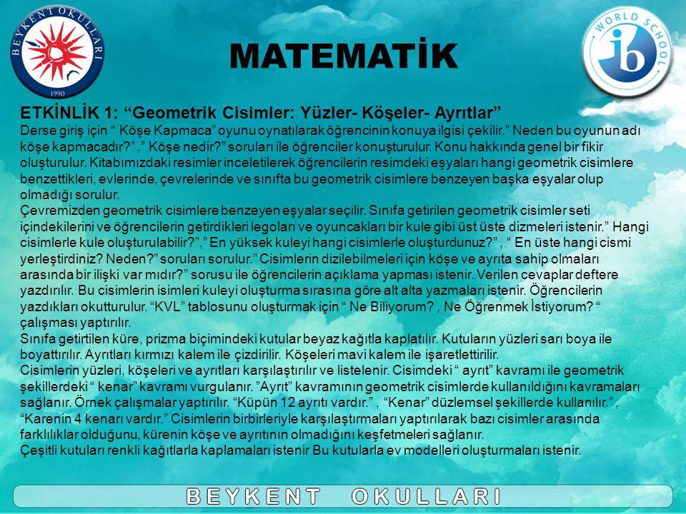MATEMATİK ETKİNLİK 1: Geometrik Cisimler: Yüzler- Köşeler- Ayrıtlar