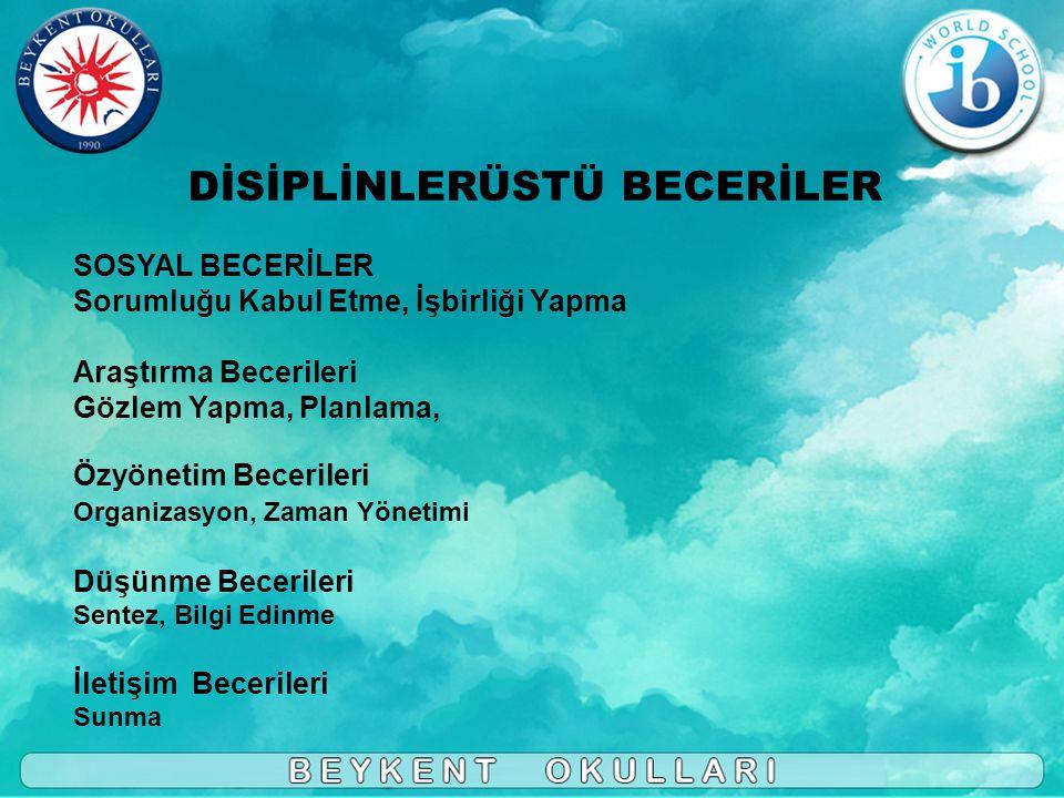 DİSİPLİNLERÜSTÜ BECERİLER SOSYAL BECERİLER