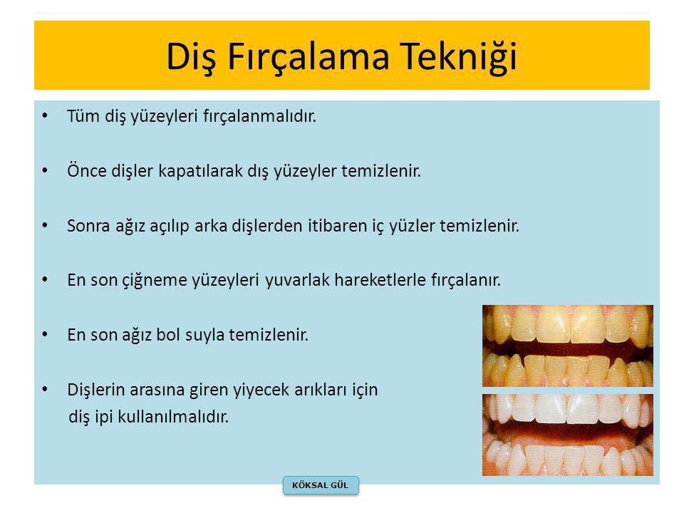 Diş Fırçalama Tekniği Tüm diş yüzeyleri fırçalanmalıdır.