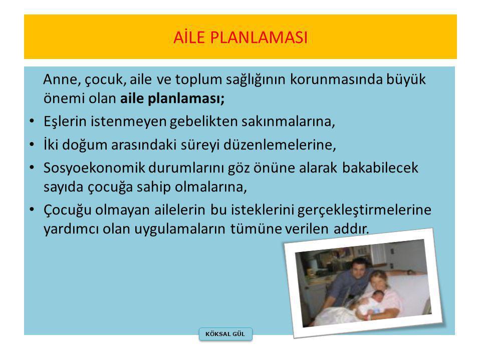 AİLE PLANLAMASI Anne, çocuk, aile ve toplum sağlığının korunmasında büyük önemi olan aile planlaması;