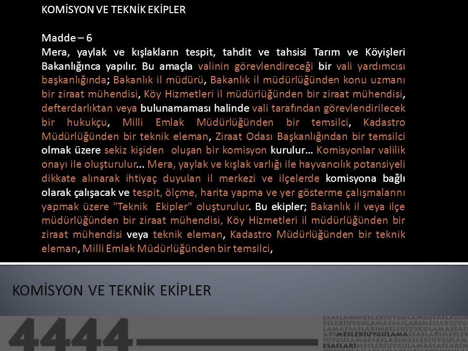 KOMİSYON VE TEKNİK EKİPLER