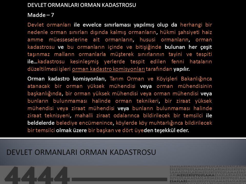 DEVLET ORMANLARI ORMAN KADASTROSU