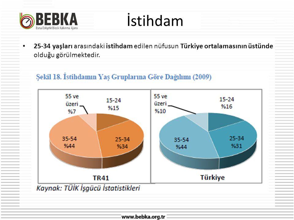 İstihdam 25-34 yaşları arasındaki istihdam edilen nüfusun Türkiye ortalamasının üstünde olduğu görülmektedir.