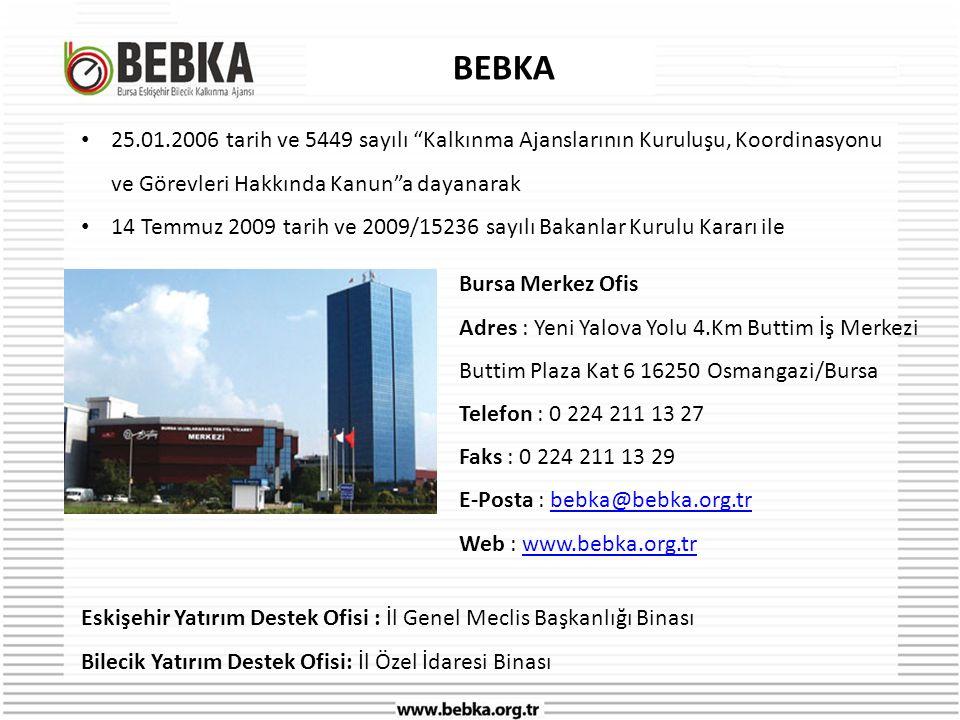 BEBKA 25.01.2006 tarih ve 5449 sayılı Kalkınma Ajanslarının Kuruluşu, Koordinasyonu ve Görevleri Hakkında Kanun a dayanarak.