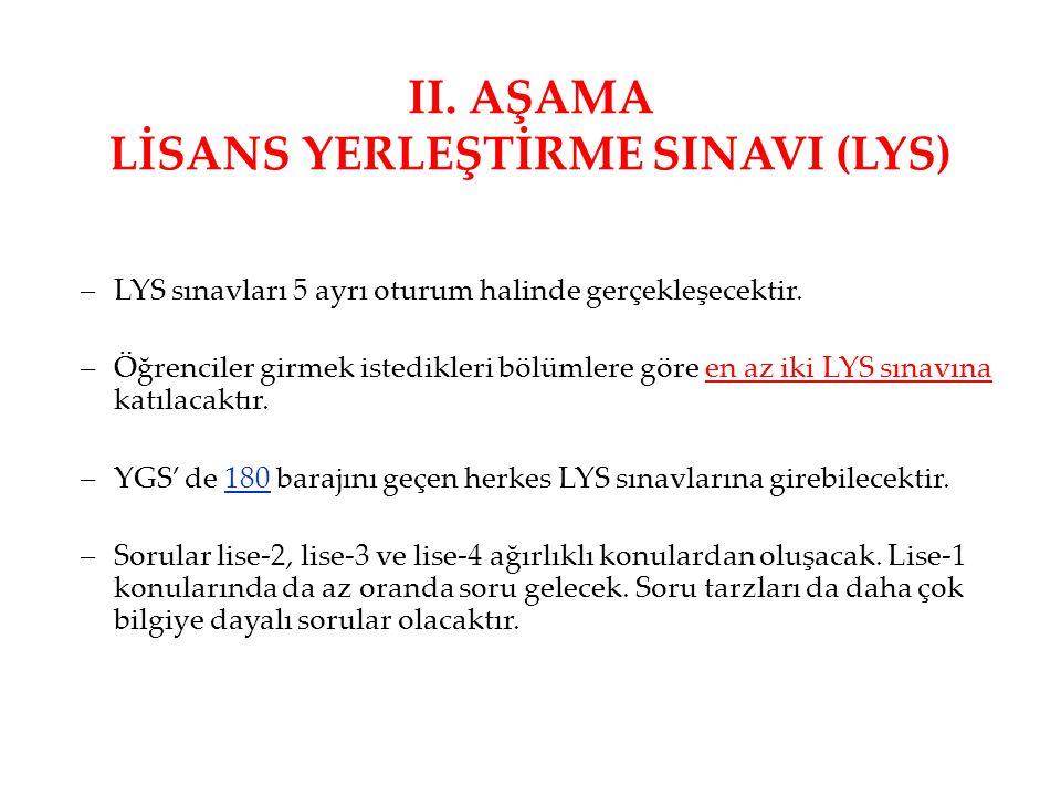 II. AŞAMA LİSANS YERLEŞTİRME SINAVI (LYS)