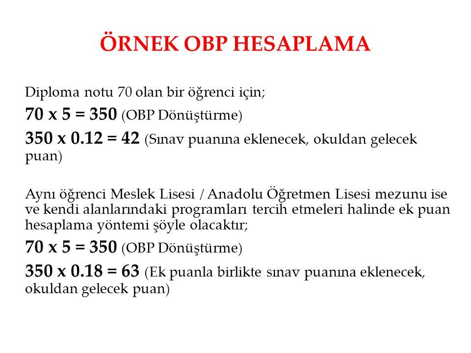 ÖRNEK OBP HESAPLAMA 70 x 5 = 350 (OBP Dönüştürme)