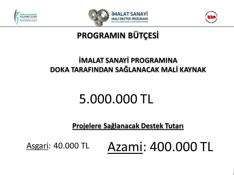 5.000.000 TL Azami: 400.000 TL PROGRAMIN BÜTÇESİ Asgari: 40.000 TL