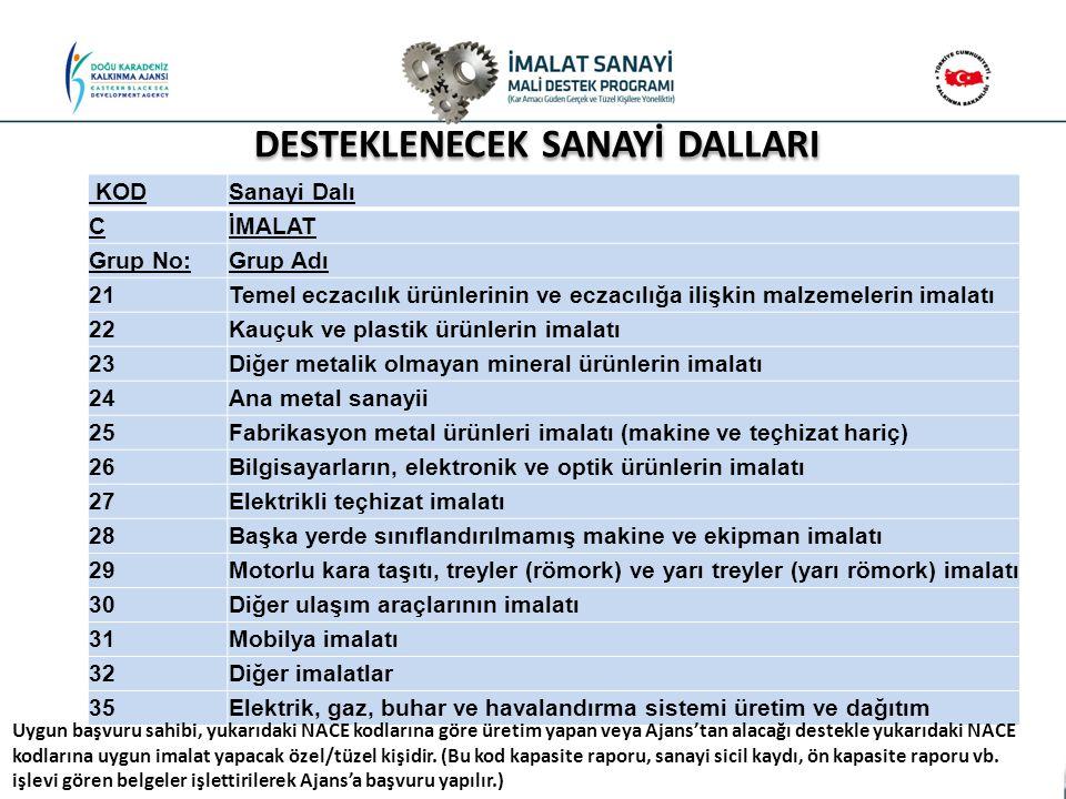 DESTEKLENECEK SANAYİ DALLARI