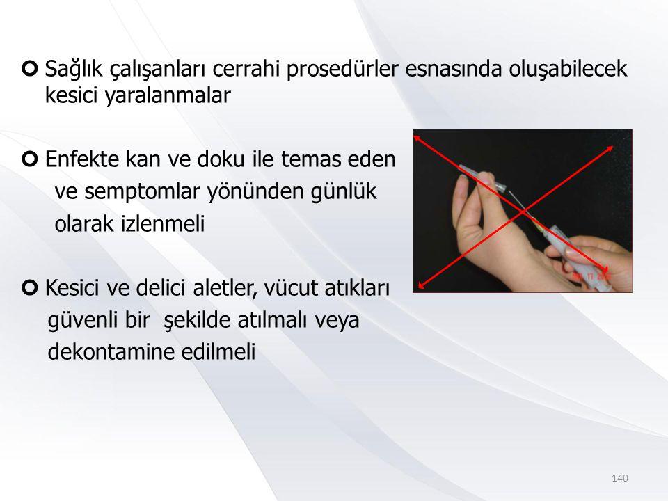 Sağlık çalışanları cerrahi prosedürler esnasında oluşabilecek kesici yaralanmalar