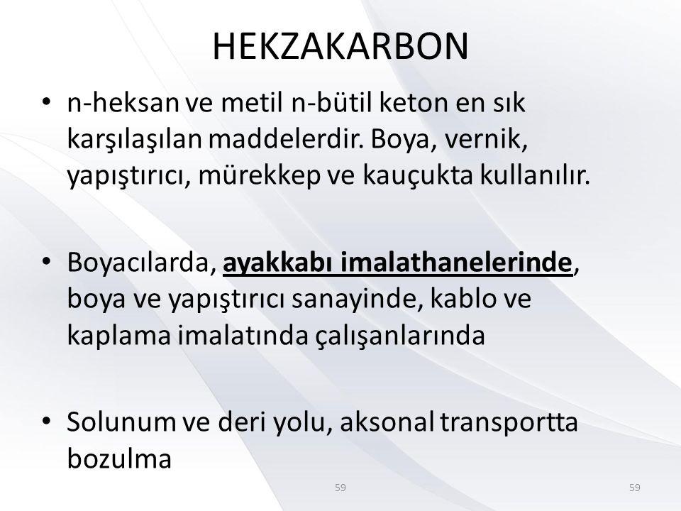 HEKZAKARBON n-heksan ve metil n-bütil keton en sık karşılaşılan maddelerdir. Boya, vernik, yapıştırıcı, mürekkep ve kauçukta kullanılır.